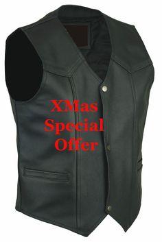 45 XMas Special MENS Black LEATHER WAISTCOAT  MOTORCYCLE/ Biker Vest