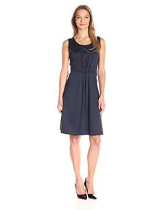 Star Vixen Womens Sleeveless CinchPleat Skater Dress Navy Medium *** Continue to the product at the image link.