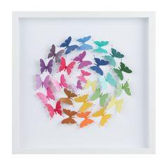Framed Ball of Rainbow Butterflies - creative!