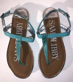 658b1b88d Sam   Libby Women s Sandals Turquoise T-Strap w Silver SIZE 7.5 Nice