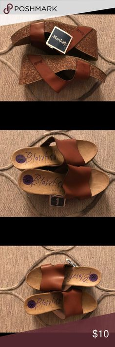 Blowfish slide-on wedges. Size 8.5. Never worn! Very cute slide-on leather top/cork bottom wedges, never been worn! Size 8.5. Blowfish Shoes Heels