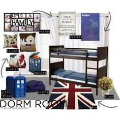 """Dorm Room Decor"" by rochellechristine on Polyvore. Doctor Who themed. #tardis mini fridge #dalek specifications"