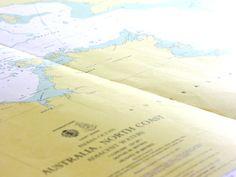 Australia's Top End vintage nautical chart at coastal vintage