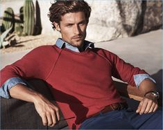 Lounging in a red sweater and navy chinos, Wouter Peelen fronts Michael Kors' spring-summer 2017 campaign.