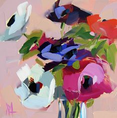 Anemones original floral still life oil painting by Angela Moulton 8 x 8 inch on…