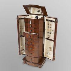 Jewelry Armoire Cabinet Box Honey Oak or Walnut Finish 8 Drawer Storage Wood Case Jewelry Cabinet, Jewelry Armoire, Display Boxes, Storage Boxes, Storage Chest, Storage Drawers, Cabinet Storage, Storage Ideas, Jewellery Storage