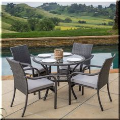 Patio Dining Set 5 Piece Round Table Chairs Metal Resin Wicker Garden Furniture  | eBay