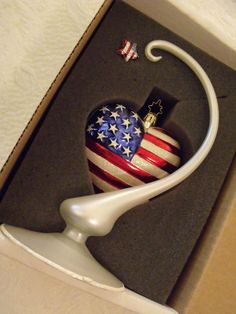 Commemorative 9/11 American Flag Heart Ornament Stand Pin Christopher Radko  Ret