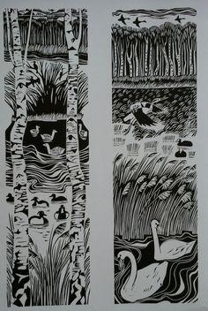 Mere & Swans - linocuts - Carry  Akroyd