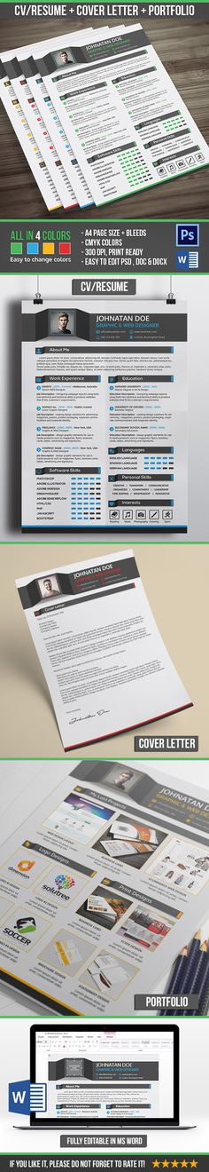 Resume + Cover Letter + Portfolio is clean \ modern professional - cv and cover letter