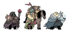 More fantasy pals. From the left: a warlock, a merchant and his trusty steed and an ice mage.