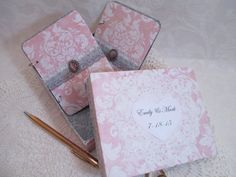 Wedding Vow Book Set  Pink and Gray Damask by TheMemoryKeeperShop