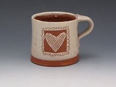 Valentine's Day Cup Two Hearts by RonPhilbeckPottery