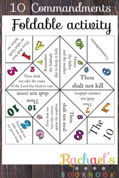 10 Commandments Foldable, primary activity, kids craft, LDS