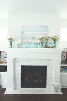 marble subway tile on fireplace, coastal colors
