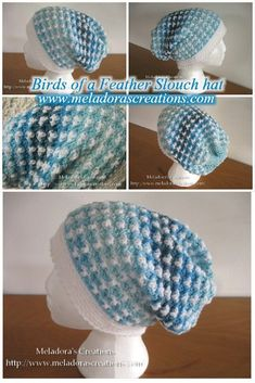Crochet Slouch - Your Place to learn how to make a Birds of a Feather slouch hat, great for BOTH Men and Women. By Meladora's Creations - Free Patterns and Videos Tutorials Easy Crochet, Free Crochet, Knit Crochet, Crochet Things, Crochet Beanie, Crochet Hats, Crochet Stitches, Crochet Patterns, Hat Patterns