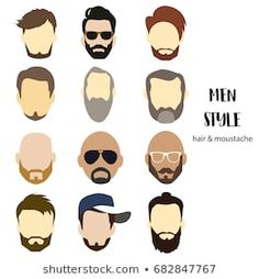illustration man avatar various hair style and beard Ranchero Alegre, Avatar, Man, Illustration, Mickey Mouse, Hair Styles, Fictional Characters, Moda Masculina, Moustaches