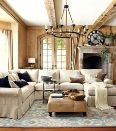 This Rustic Neutral Living Room Features Velvet Accent Pillows And Varying Textures