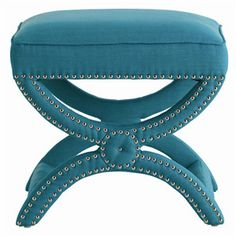 Tennyson Turquoise Linen Stool with Nickel Studs by Arteriors