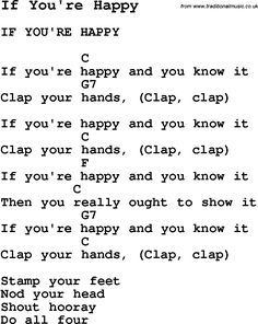 Summer-Camp Song, If You're Happy, with lyrics and chords for Ukulele, Guitar Banjo etc.