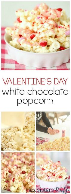 Valentine's Day White Chocolate Popcorn from http://SixSistersStuff.com   This easy recipe is delicious and perfect to make with little helpers for a Valentines treat!   Valentines Day Snack   Valentines Day Ideas   Kid Approved Snack