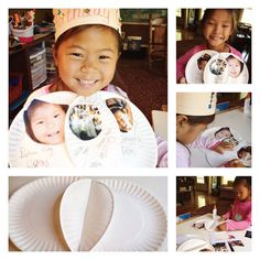 Use a venn diagram, created with paper plates, drawing materials and collage to show how two people or things, or concepts are different and the same. In this case 2 sisters show how they are different and similar.