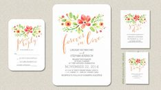 Beautiful casual wedding invitation with hand painted watercolor flowers and handwritten script font. Something new and something very special painted by hands, clean simple looking but unique invi...
