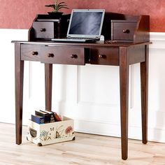 $266 Measures 36 inches long x 19 inches wide x 39.75 inches tall This wood desk offers a stylish design combined with practical function. The deep espresso color and solid wood hardware make a stylish statement, while five spacious drawers provide useful storage. The desk measures 36' x 19' x 39.75'.