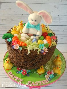 Easter bunny basket - Cake by CakeMatters Easter Snacks, Easter Treats, Easter Recipes, Easter Egg Basket, Easter Bunny, Easter Eggs, Chocolate Bowls With Balloons, Cake Basket, Rabbit Cake