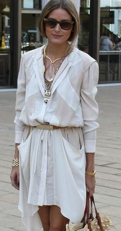 Olivia Palermo wore a dress and blouse by BCBG, a Lulu Frost Necklace,  Aquazarra 06a15e5626
