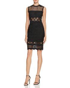 AQUA Open Weave Patterned Dress