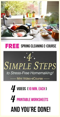 FREE Spring Cleaning, Organizing, and Homemaking video series - four quick 10 minute videos and 4 worksheets to go along with them. Covers meal planning, laundry, dishes, and nighttime routines... I am so doing this!!!