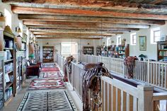 Reclaimed wood beams were collected for the ceilings of Jane Fonda's New Mexico ranch.