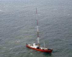 Radio Caroline: MV Ross Revenge with 300 feet transmitter mast, North Sea, 1983