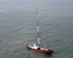Radio Caroline: MV Ross Revenge with 300 feet transmitter mast, North Sea, 1983