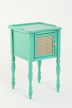 Cute night stand for girls in aqua or gray. Possibly replace the hardware to match dresser and the wicker with embossed metal for a modern vintage look.