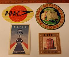 4)Vintage Original Hotel Luggage Labels Travel Stickers BOAC,Rome Italy.Norway