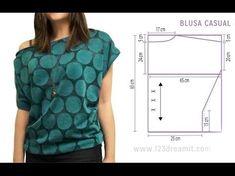 Come Cucire Una Maglietta Con Scollo Drappeggiato E Manica Scesa - YouTube