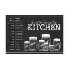 Chalkboard Mason Jars Kitchen Gallery Wrapped Canvas