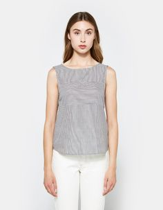 Lightweight top from Stelen in Black. Sleeveless design. Round neckline. Square cutout at back. Rounded hem. Casual fit.  • Poplin • 100% cotton • Hand wash cold, line dry