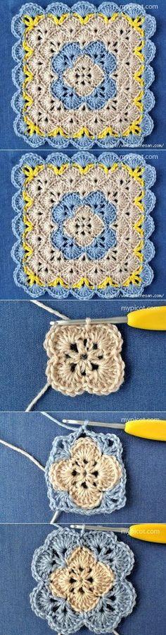 Квадратный ажурный мотив крючком Crochet Squares, Crochet Granny, Crochet Yarn, Crochet Motif, Love Crochet, Learn To Crochet, Crochet Stitches Patterns, Crochet Diagram, Crochet Projects