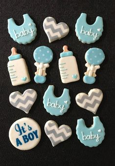 This listing is for one dozen assorted sugar cookies for a baby shower approximately 3 - This set is available in blue, pink or yellow. 3 silver he Baby Shower Cakes For Boys, Baby Shower Themes, Baby Boy Shower, Baby Shower Decorations, Shower Ideas, Baby Boy Cookies, Baby Shower Cookies, Royal Icing Cookies, Sugar Cookies