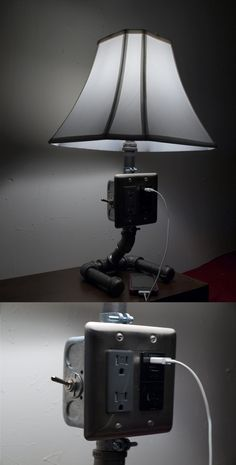 This is my industrial-esque lamp. It has three sockets and two usb ports, perfect for the side table in the bedroom! I put it together over the weekend. FYI Use proper wiring! It'll go boom if you don't!  Here's a parts list: 1. 2-Gang Box-$1.12 2. 2-Gang Box Cover~$2.30 3. Triple Outlet-$20.00 4. Square Outlet-$3.50 5. 16 pieces pipe & fittings~$30 6. Servalite Switch-$6.00 7. Lamp parts~$20.00 8. Hubbell Plug-$4.70 9. 12-2 Indoor Wire-$13 10. Fancy Shade-$15 Total-$116 Industrial Pipe, Design Industrial, Industrial Lighting, Industrial Style, Pipe Furniture, Industrial Furniture, Cool Furniture, Pipe Lighting, Diy Pipe