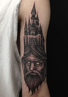 Castle on the Head of a Man. This one is pure evil tattoo, offering an evil person with the castle erected.