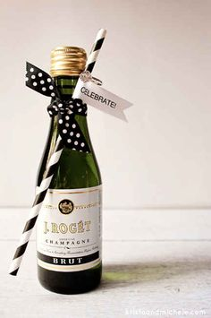 Give each guest an accessorized mini bottle of Champagne.