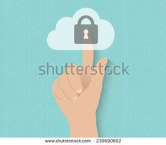 Hand pushing virtual cloud security button on digital background
