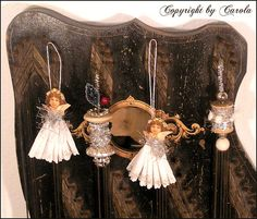 Vintage inspired crepe paper tinsel angels