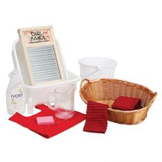 Cloth Washing Activity $85  With or without the Cloth Washing Stand (LC10 and LC10T), this set enables children to care for the laundry needs of the classroom. Items may vary from those shown.  Set includes: 3 Cotton Terry Cloths Easy-Fasten Apron (W28) One-Drop Squeeze Bottle (J30) 2 Dishpans (W15) Scrub Board (W37) Plastic Pitcher (G25) Plastic Laundry Basket (K105) Liquid Soap Sponge Small Bucket (W316)