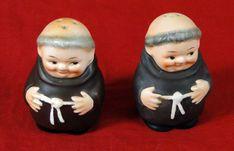 TMK-2 Hummel Goebel Friar Tuck Monk Salt and Pepper Serving Dishes by OrangePawnShop on Etsy #Hummel #Goebel #Tableware #Friar #Tuck #Vintage #Dishes #Pottery #Salt #Pepper #Shakers #Serving  0209