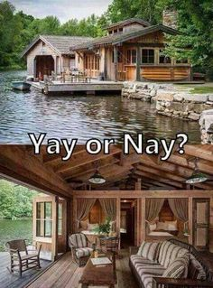 Haus am See *-* Future House, Style At Home, Cabin In The Woods, House By The Lake, Cabin On The Lake, Log Cabin Homes, Log Cabins, Rustic Cabins, Rustic Lake Houses